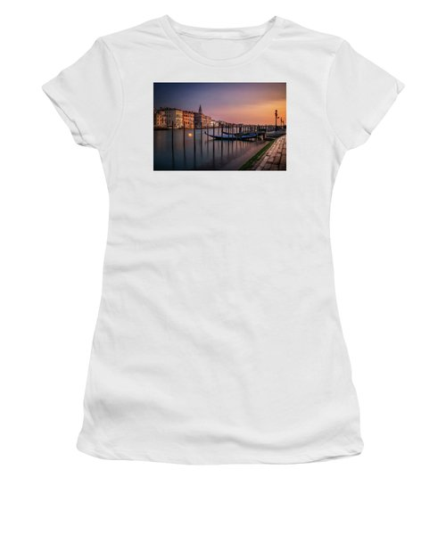 San Marco Campanile With Gondolas At Grand Canal During Calm Sunrise, Venice, Italy, Europe. Women's T-Shirt (Athletic Fit)