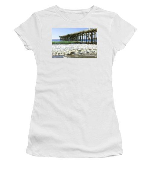 Women's T-Shirt (Junior Cut) featuring the photograph San Simeon Pier by Art Block Collections