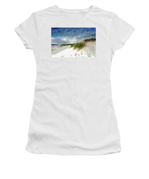 Sand And Surfing Women's T-Shirt (Junior Cut) by Charles Shoup