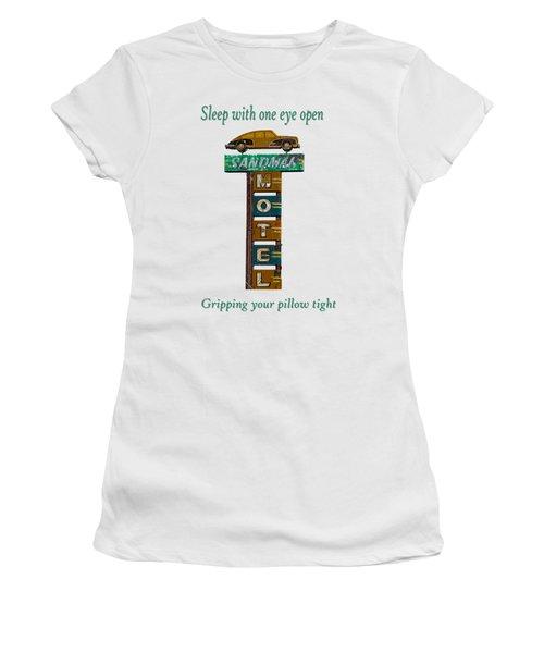 Sandman Motel 2 Women's T-Shirt (Junior Cut) by Rick Mosher