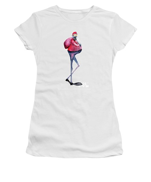 Santa Claus, Watercolor Illustration Women's T-Shirt (Athletic Fit)