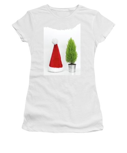 Santa Hat And Little Christmas Tree Women's T-Shirt (Junior Cut) by GoodMood Art