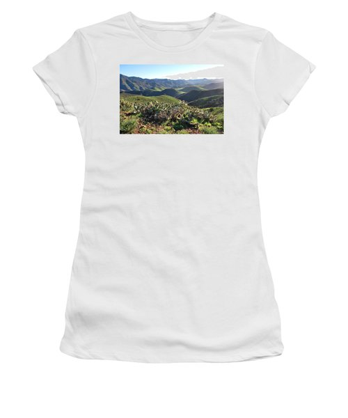 Women's T-Shirt (Athletic Fit) featuring the photograph Santa Monica Mountains - Hills And Cactus by Matt Harang