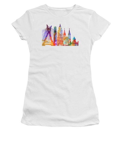 Sao Paulo Landmarks Watercolor Poster Women's T-Shirt