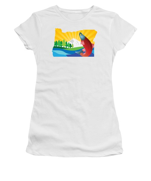 Scenic State Of Oregon Map Women's T-Shirt (Junior Cut) by Jit Lim
