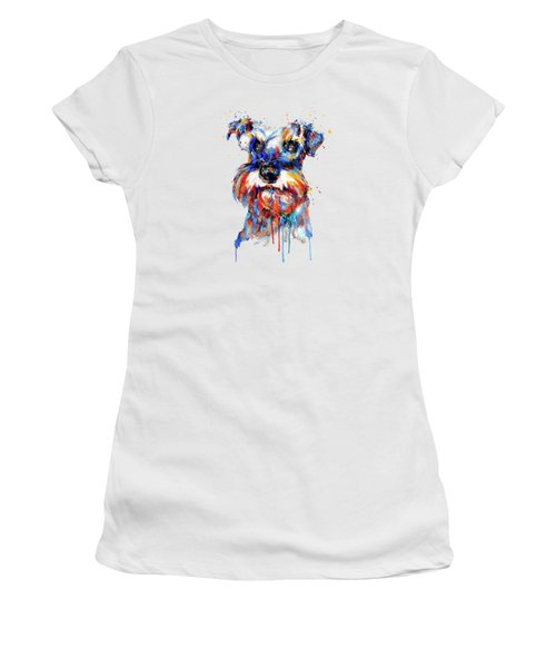 Women's T-Shirt (Junior Cut) featuring the mixed media Schnauzer Head by Marian Voicu