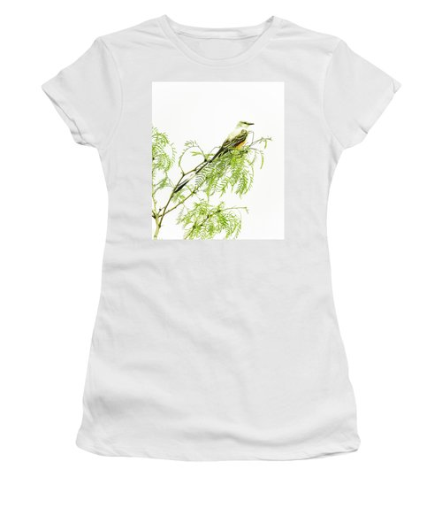 Women's T-Shirt (Junior Cut) featuring the photograph Scissortail On Mesquite by Robert Frederick