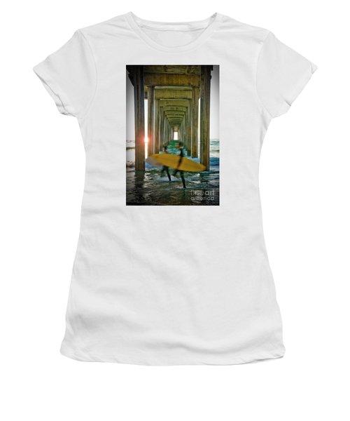 Scripps Pier Surfers Women's T-Shirt (Athletic Fit)
