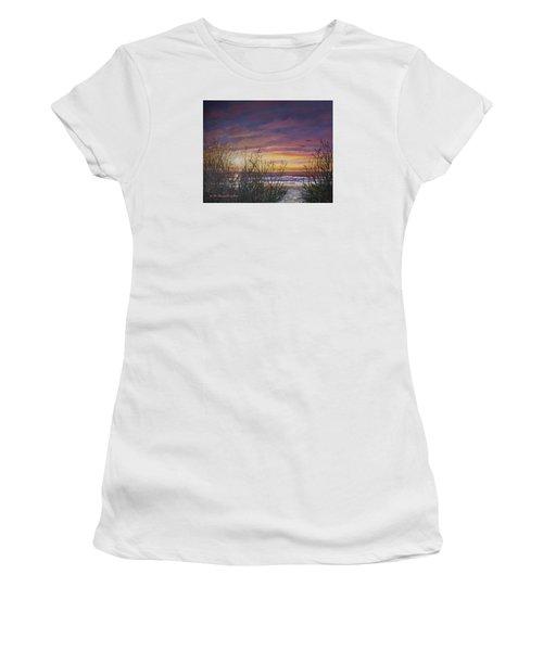 Women's T-Shirt (Junior Cut) featuring the painting Sea Oat Sunrise # 3 by Kathleen McDermott