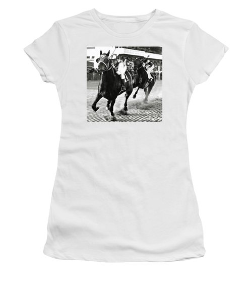 Seabiscuit And George Woolf Lead War Admiral And Jockey Charles Kursinger In The First Turn, Pimlico Women's T-Shirt