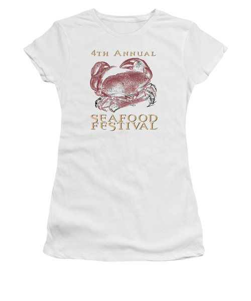 Women's T-Shirt (Junior Cut) featuring the digital art Seafood Festival Tee by Edward Fielding