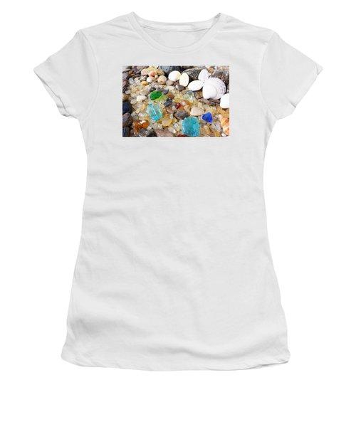 Seaglass Art Prints Sea Glass Shells Agates Women's T-Shirt