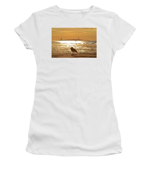 Seagull Admiring Thacher Island Gloucester Ma Good Harbor Beach Women's T-Shirt (Athletic Fit)