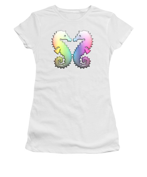 Seahorse Tango Soft Rainbow Drops Women's T-Shirt (Junior Cut) by Di Designs