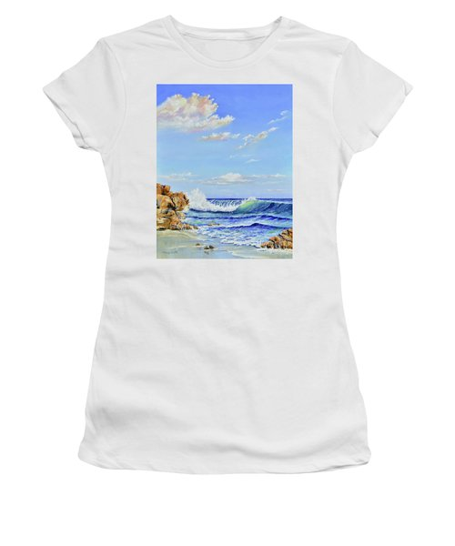 Women's T-Shirt featuring the painting Seascape Beach by Mary Scott