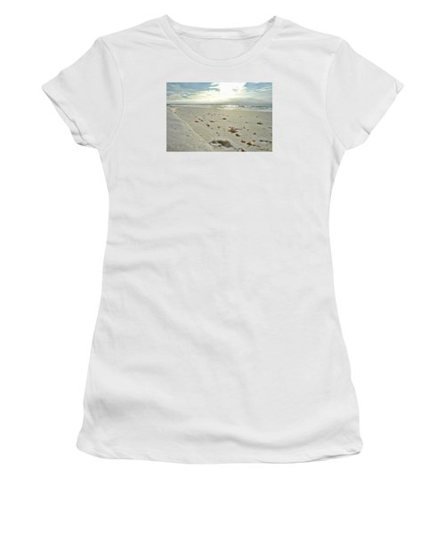 Women's T-Shirt (Junior Cut) featuring the photograph Seashells On The Seashore by Renee Hardison