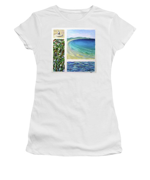 Women's T-Shirt (Junior Cut) featuring the painting Seaside Memories by Chris Hobel