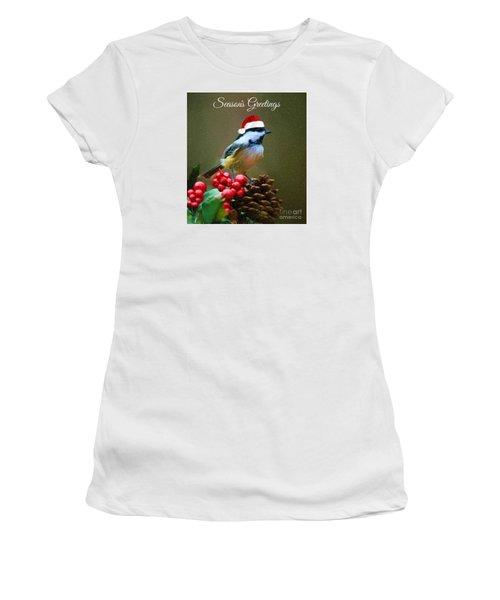 Seasons Greetings Chickadee Women's T-Shirt (Athletic Fit)