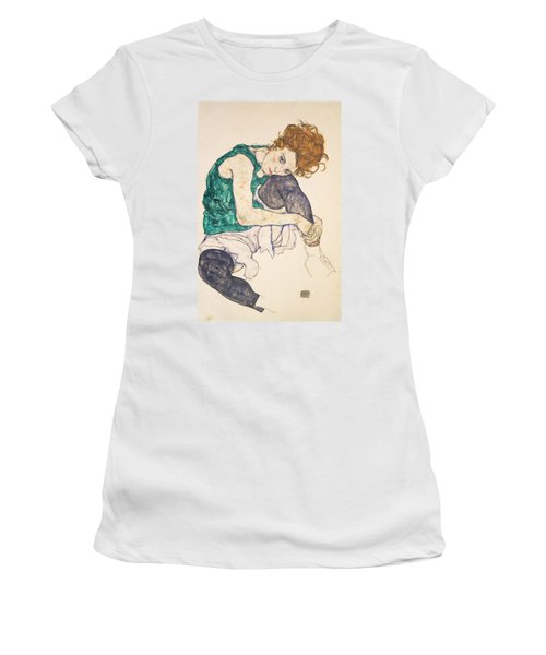 Seated Woman With Legs Drawn Up Women's T-Shirt (Athletic Fit)