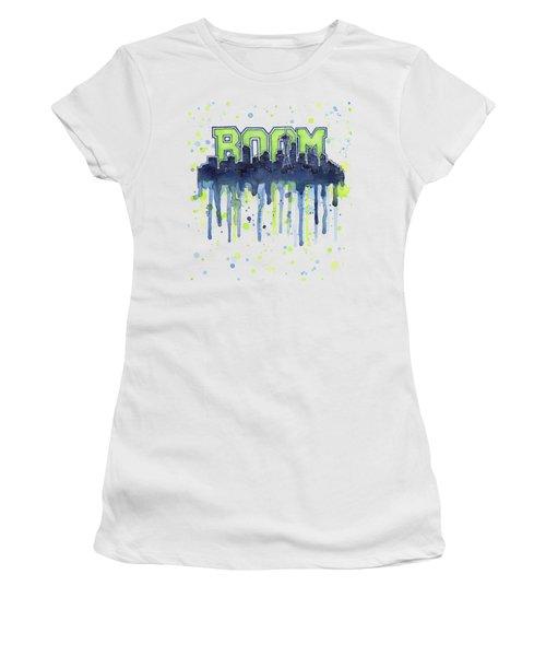 Seattle 12th Man Legion Of Boom Watercolor Women's T-Shirt