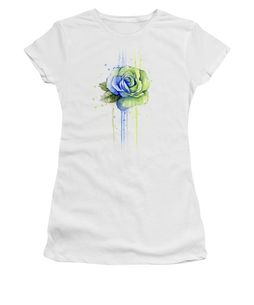 Seattle 12th Man Seahawks Watercolor Rose Women's T-Shirt (Junior Cut) by Olga Shvartsur