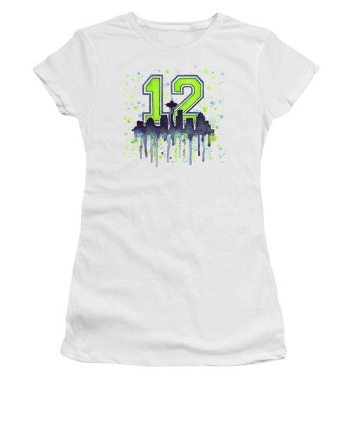 Seattle Seahawks 12th Man Art Women's T-Shirt