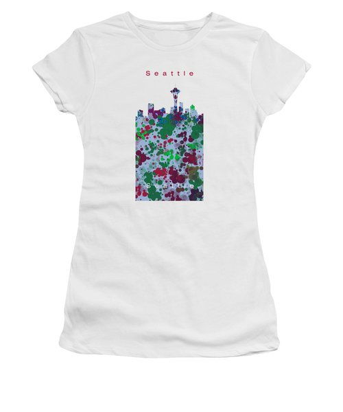 Seattle Skyline .3 Women's T-Shirt (Junior Cut) by Alberto RuiZ