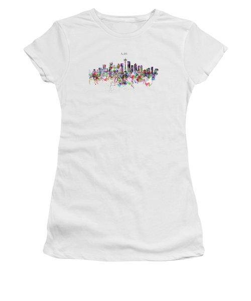 Seattle Skyline Silhouette Women's T-Shirt