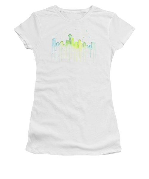 Seattle Skyline Watercolor  Women's T-Shirt (Junior Cut) by Olga Shvartsur