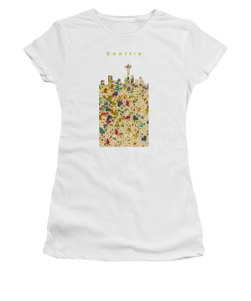 Seattle Skyline.2 Women's T-Shirt (Junior Cut) by Alberto RuiZ