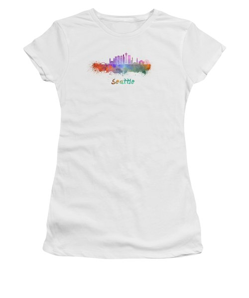 Seattle V2 Skyline In Watercolor Women's T-Shirt (Junior Cut) by Pablo Romero