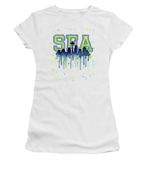 Seattle Watercolor 12th Man Art Painting Space Needle Go Seahawks Women's T-Shirt