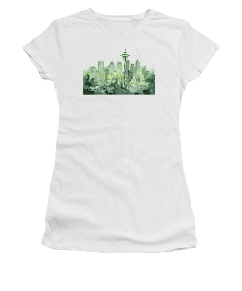 Seattle Watercolor Women's T-Shirt (Athletic Fit)