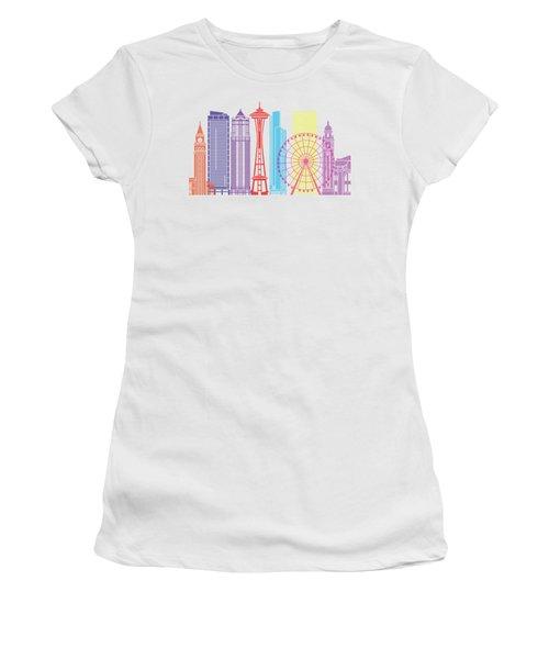 Seattle_v2 Skyline Pop Women's T-Shirt (Junior Cut) by Pablo Romero