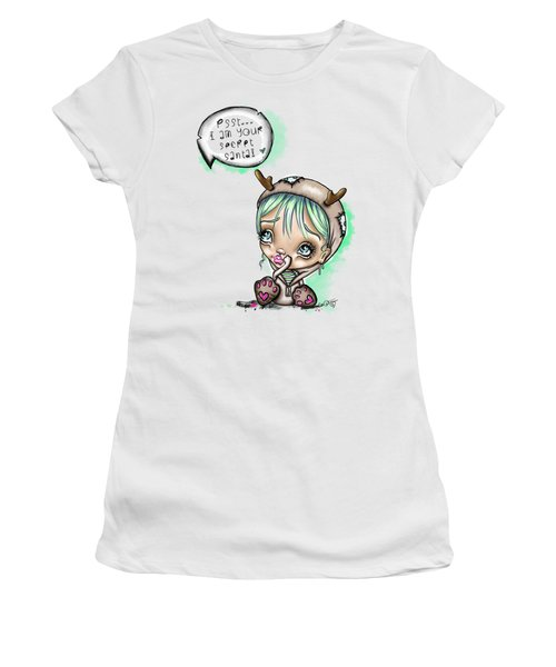 Women's T-Shirt (Junior Cut) featuring the painting Secret Santa by Lizzy Love