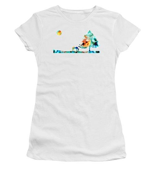 Seeking Shelter - Colorful Horse Art Painting Women's T-Shirt