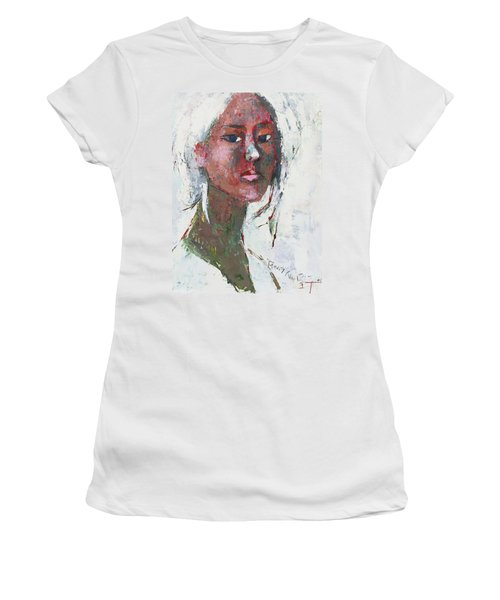 Women's T-Shirt (Junior Cut) featuring the painting Self Portrait 1503 by Becky Kim