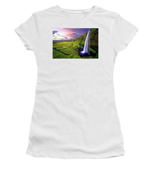 Seljalandsfoss Waterfall Women's T-Shirt (Athletic Fit)