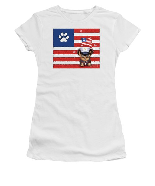 Semper Fidelis Yorkie Marine Women's T-Shirt (Junior Cut) by Catia Cho