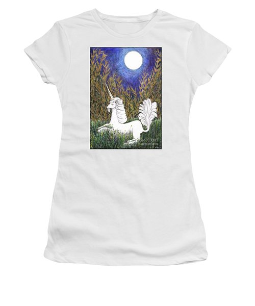 Women's T-Shirt (Athletic Fit) featuring the painting September Unicorn by Lise Winne