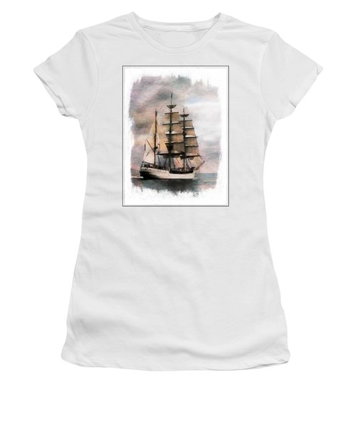 Women's T-Shirt (Athletic Fit) featuring the painting Set Sail by Aaron Berg