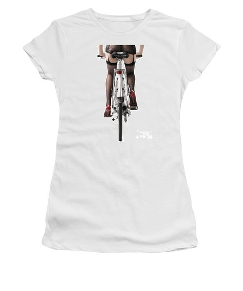 Sexy Woman Riding A Bike Women's T-Shirt (Athletic Fit)