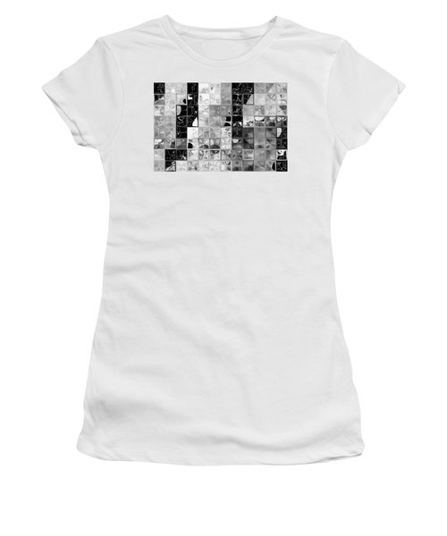 Shades Of Gray Tile Mosaic. Tile Art Painting Women's T-Shirt (Athletic Fit)