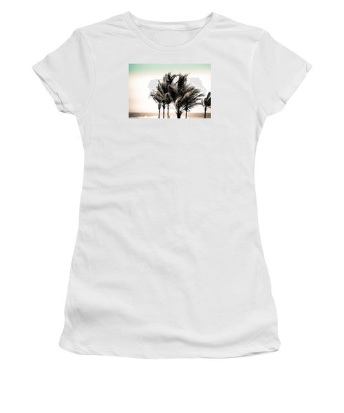Shades Of Palms - Aqua Brown Women's T-Shirt (Junior Cut) by Colleen Kammerer