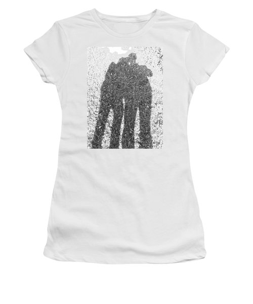 Women's T-Shirt (Junior Cut) featuring the photograph Shadow In The Meadow Bw by Wilhelm Hufnagl