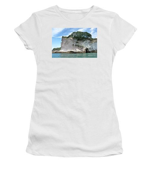Women's T-Shirt (Junior Cut) featuring the photograph Shakespeare Rock, New Zealand by Yurix Sardinelly
