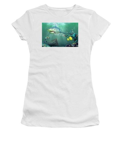 Shark Bait Women's T-Shirt (Junior Cut) by Don Olea