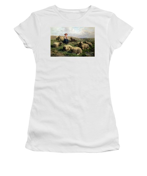 Shepherdess With Sheep In A Landscape Women's T-Shirt (Athletic Fit)