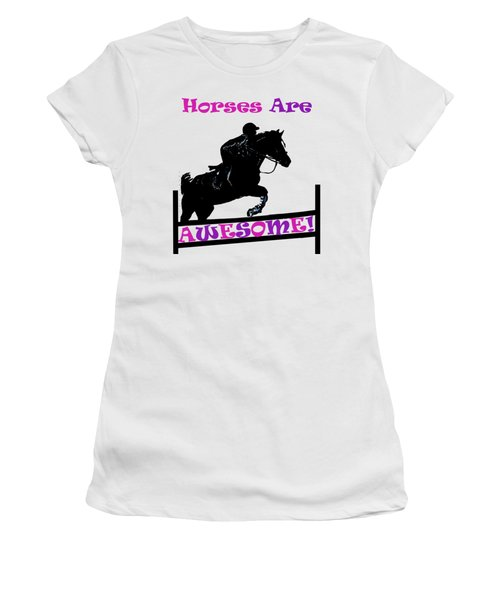 Horses Are Awesome Women's T-Shirt (Junior Cut) by Patricia Barmatz