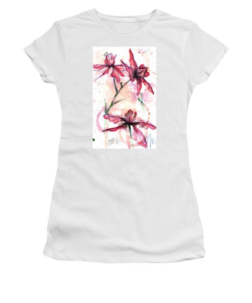 Women's T-Shirt featuring the painting Shiraz Orchids I by Ashley Kujan